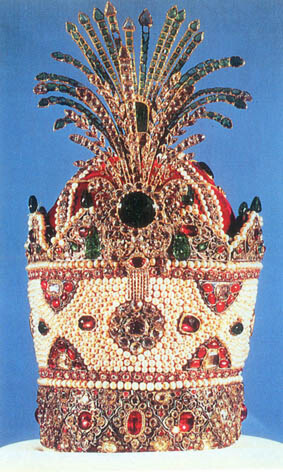 Royal crown of Qajar house of Persia - includes 1800 pearls and other precious gems
