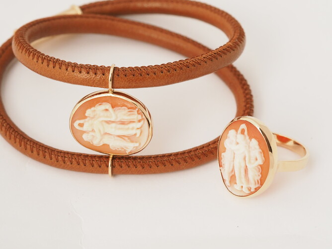 Leather bracelet and cameo ring, handmade in 18ct rose gold
