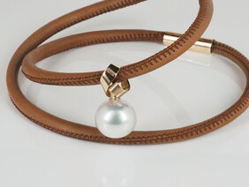 Necklace - Stunning Australian South Sea pearl with rose gold